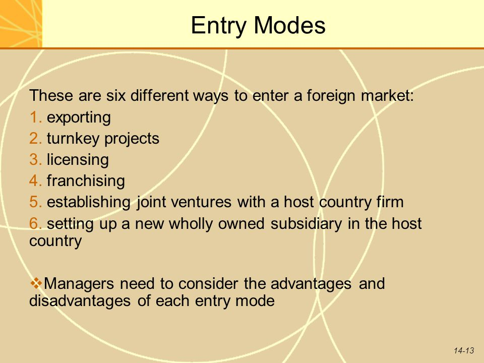 Entry Modes These are six different ways to enter a foreign market: