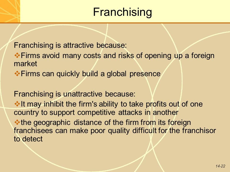 Franchising Franchising is attractive because: