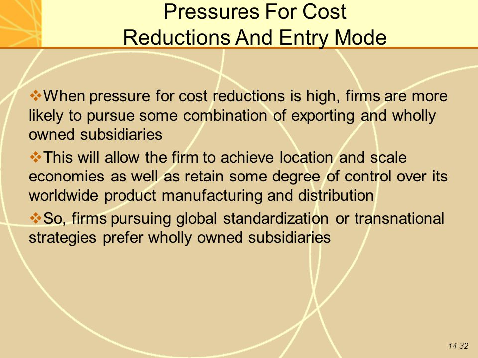 Pressures For Cost Reductions And Entry Mode