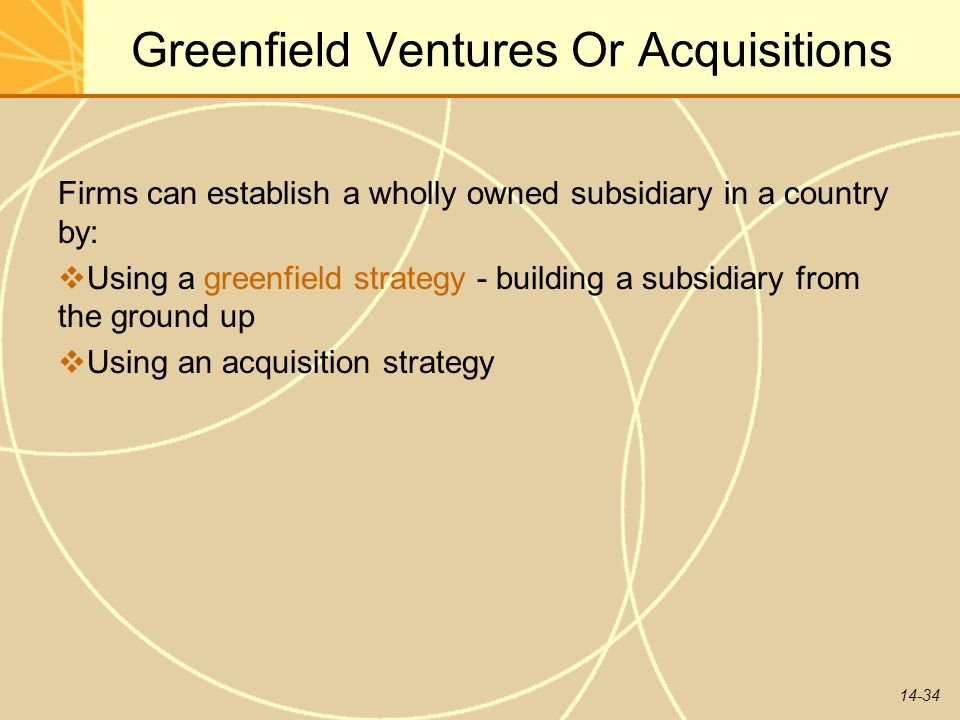 Greenfield Ventures Or Acquisitions