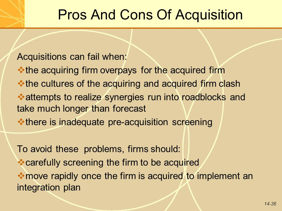 Pros And Cons Of Acquisition