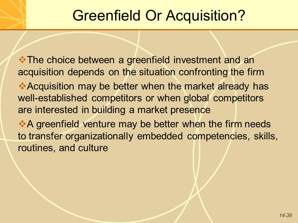 Greenfield Or Acquisition