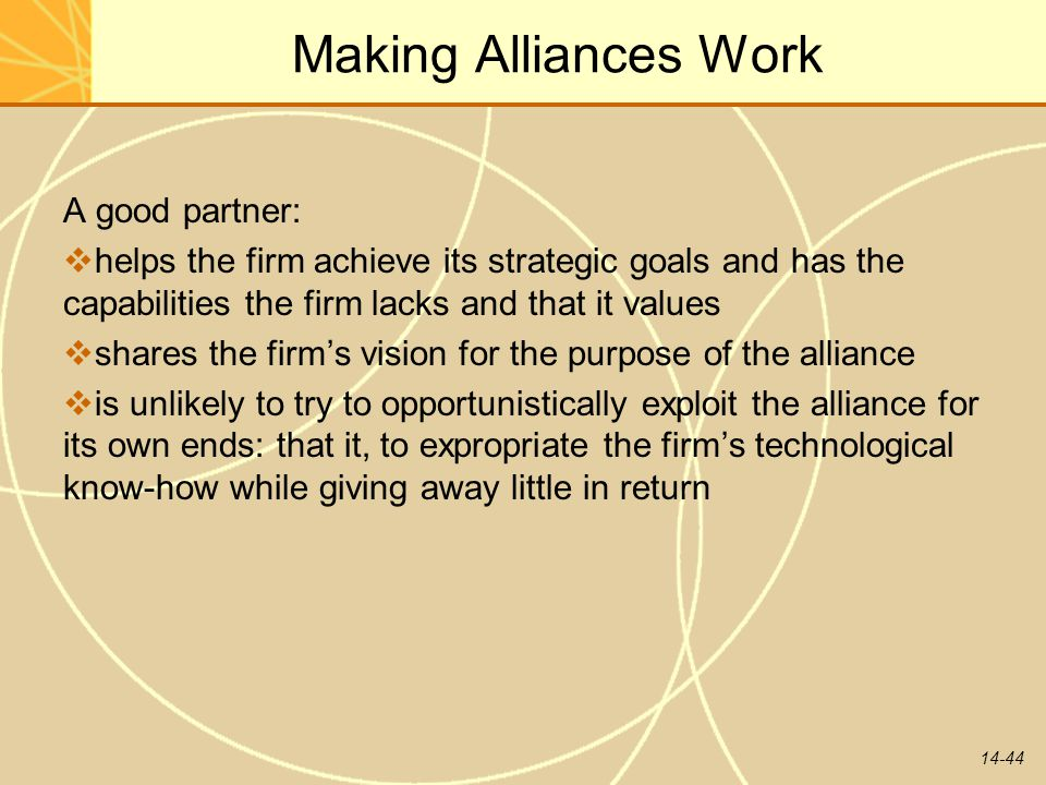 Making Alliances Work A good partner: