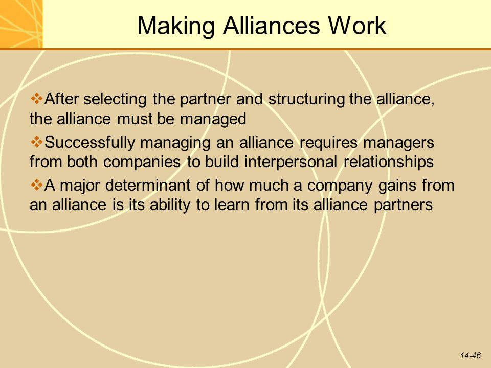 Making Alliances Work After selecting the partner and structuring the alliance, the alliance must be managed.