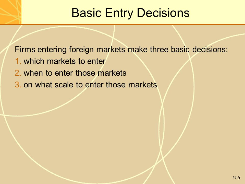 Basic Entry Decisions Firms entering foreign markets make three basic decisions: 1. which markets to enter.
