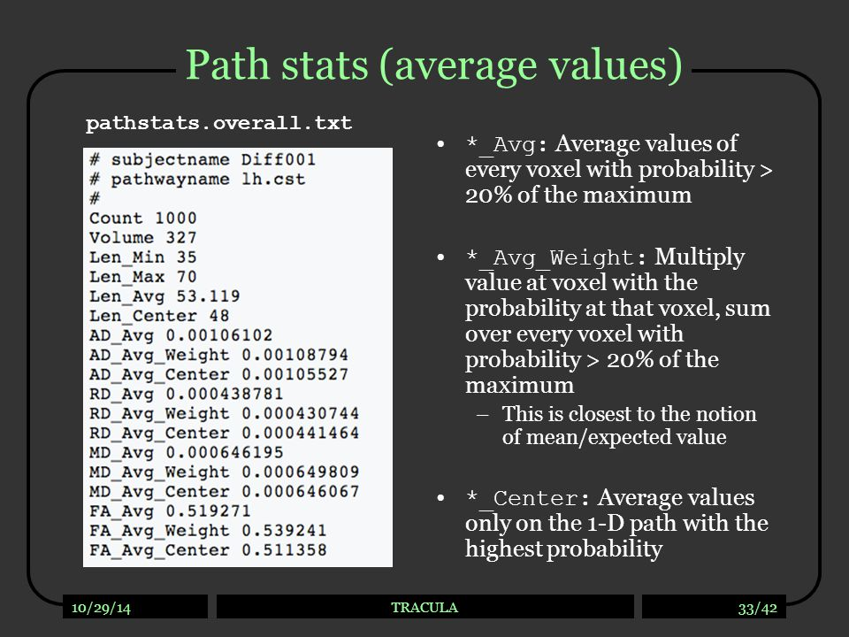 Path stats (values along the path)