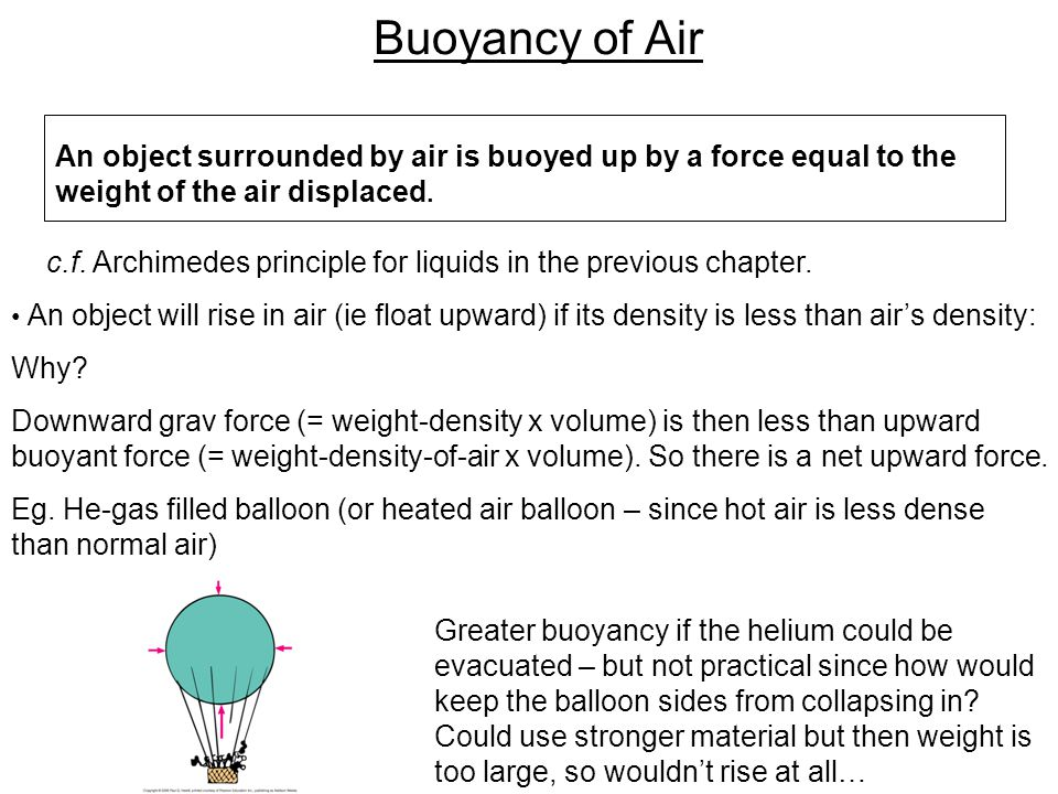 Buoyancy of Air An object surrounded by air is buoyed up by a force equal to the weight of the air displaced.