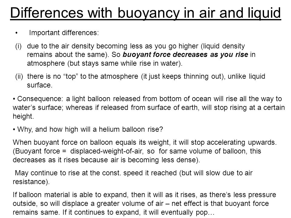 Differences with buoyancy in air and liquid
