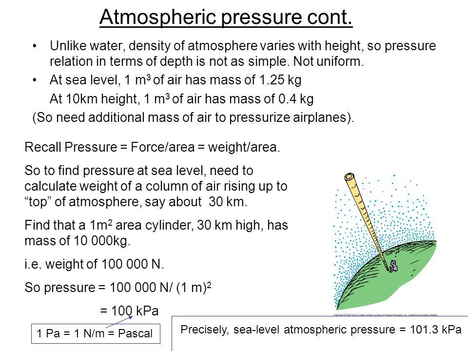 Atmospheric pressure cont.