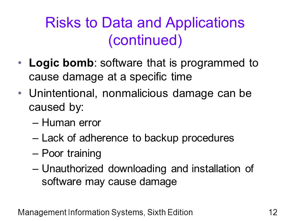 Risks to Data and Applications (continued)