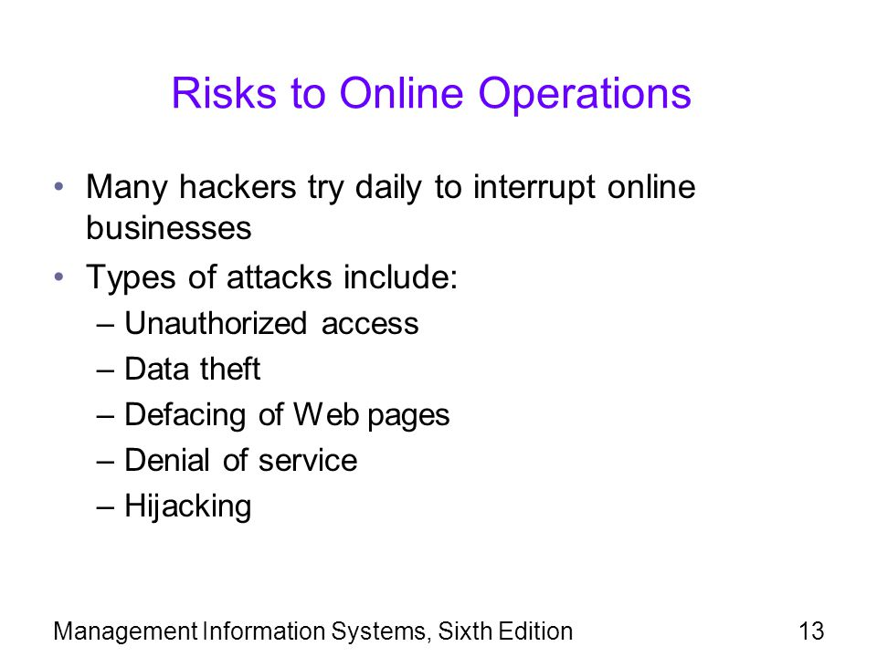 Risks to Online Operations