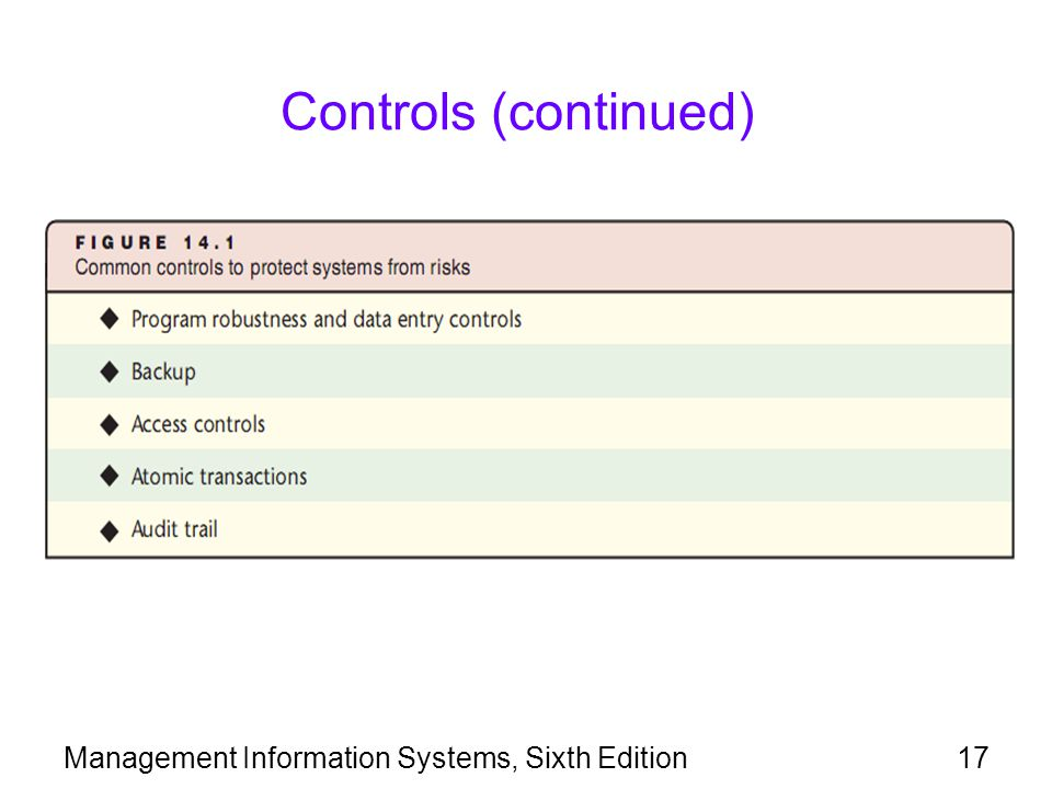 Controls (continued) Management Information Systems, Sixth Edition