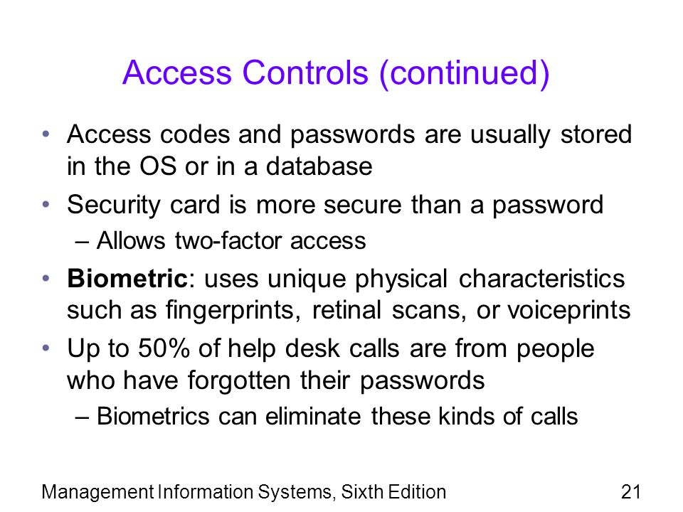 Access Controls (continued)