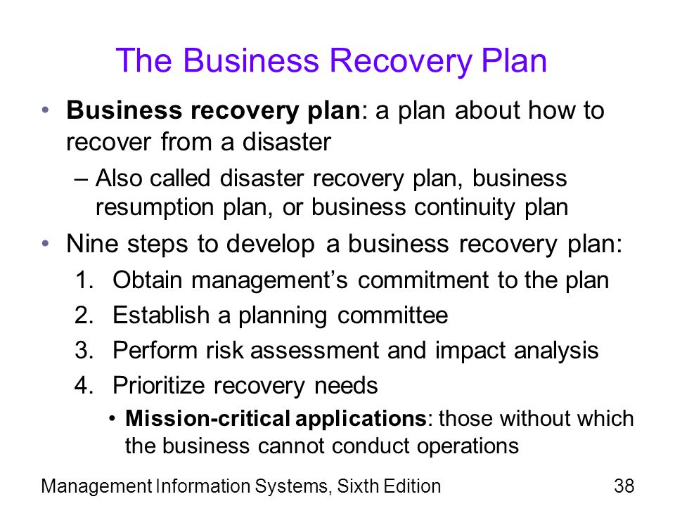 The Business Recovery Plan