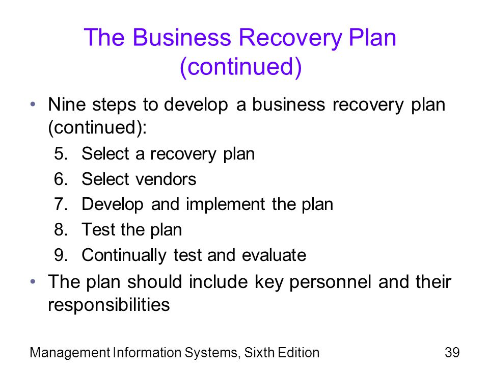 The Business Recovery Plan (continued)