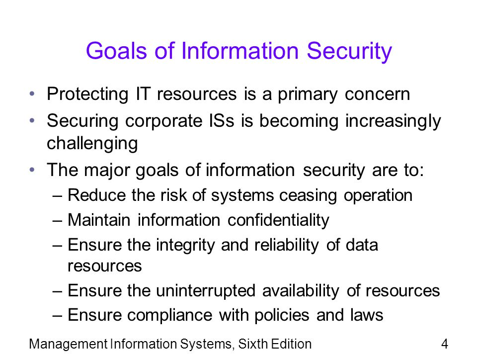 Goals of Information Security