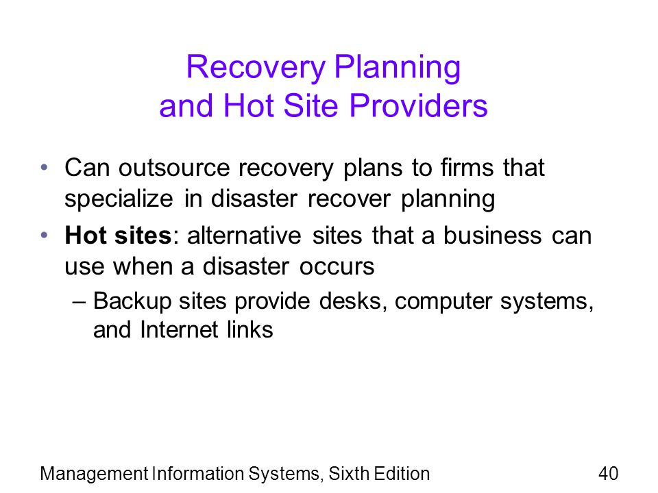Recovery Planning and Hot Site Providers