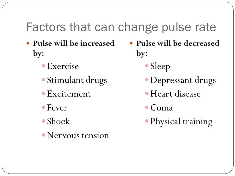 Factors that can change pulse rate