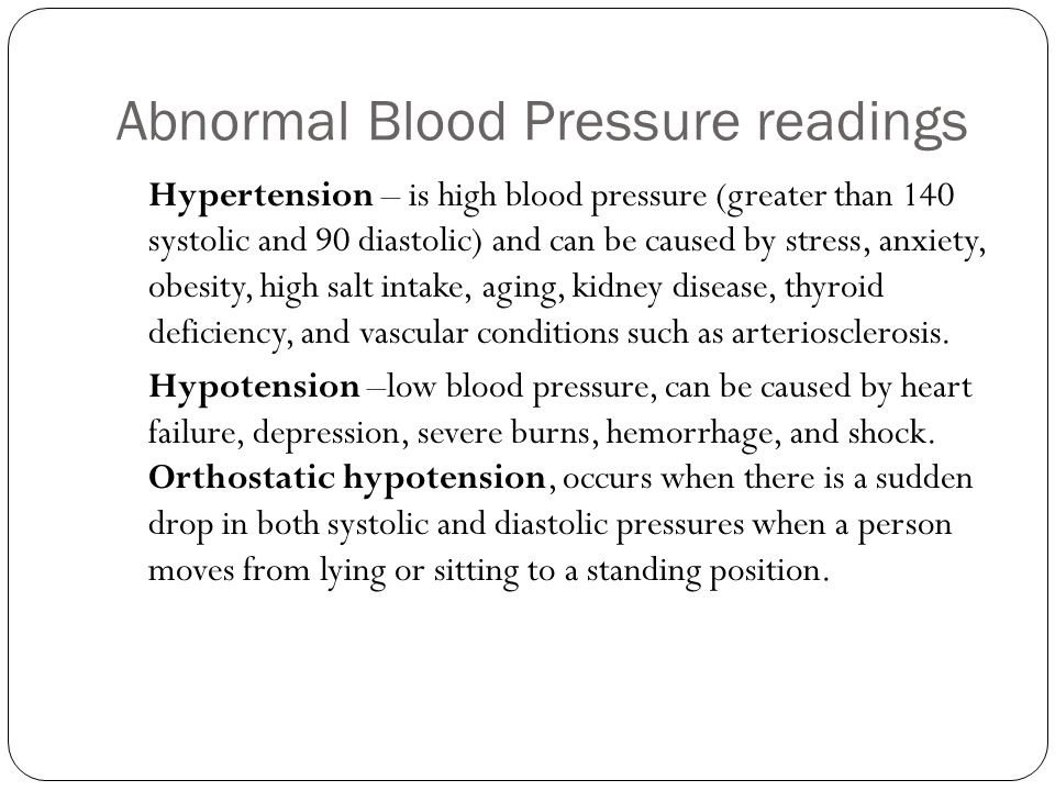 Abnormal Blood Pressure readings