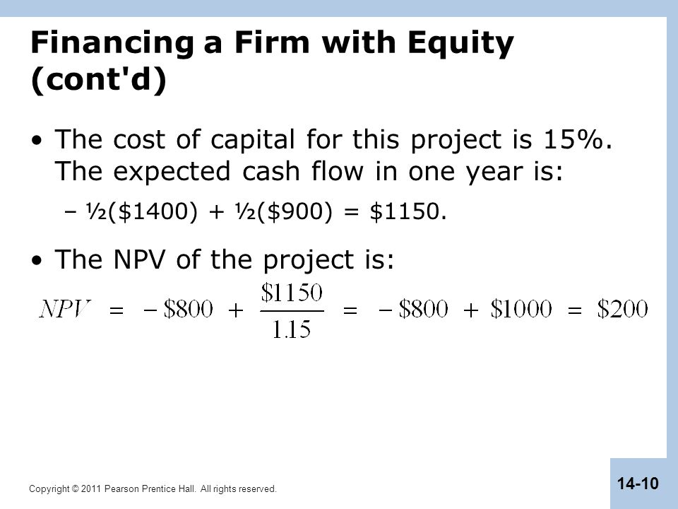 Financing a Firm with Equity (cont d)