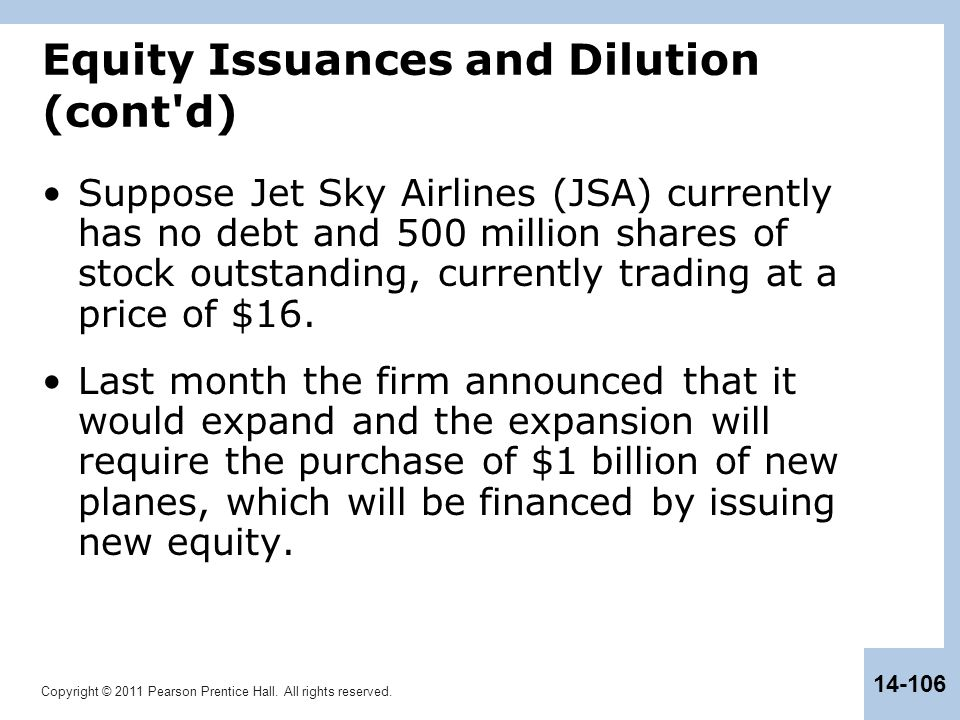 Equity Issuances and Dilution (cont d)