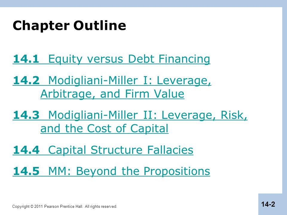 Chapter Outline 14.1 Equity versus Debt Financing