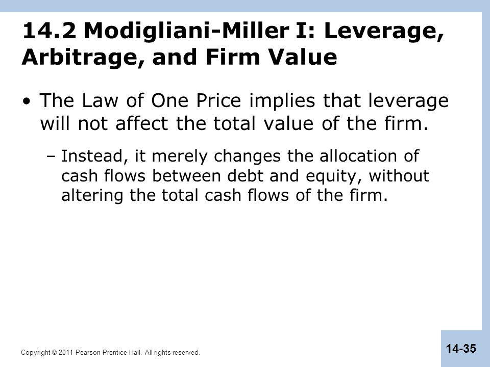 14.2 Modigliani-Miller I: Leverage, Arbitrage, and Firm Value