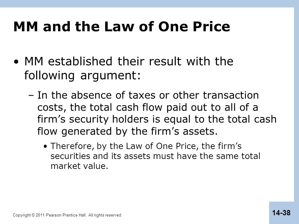 MM and the Law of One Price
