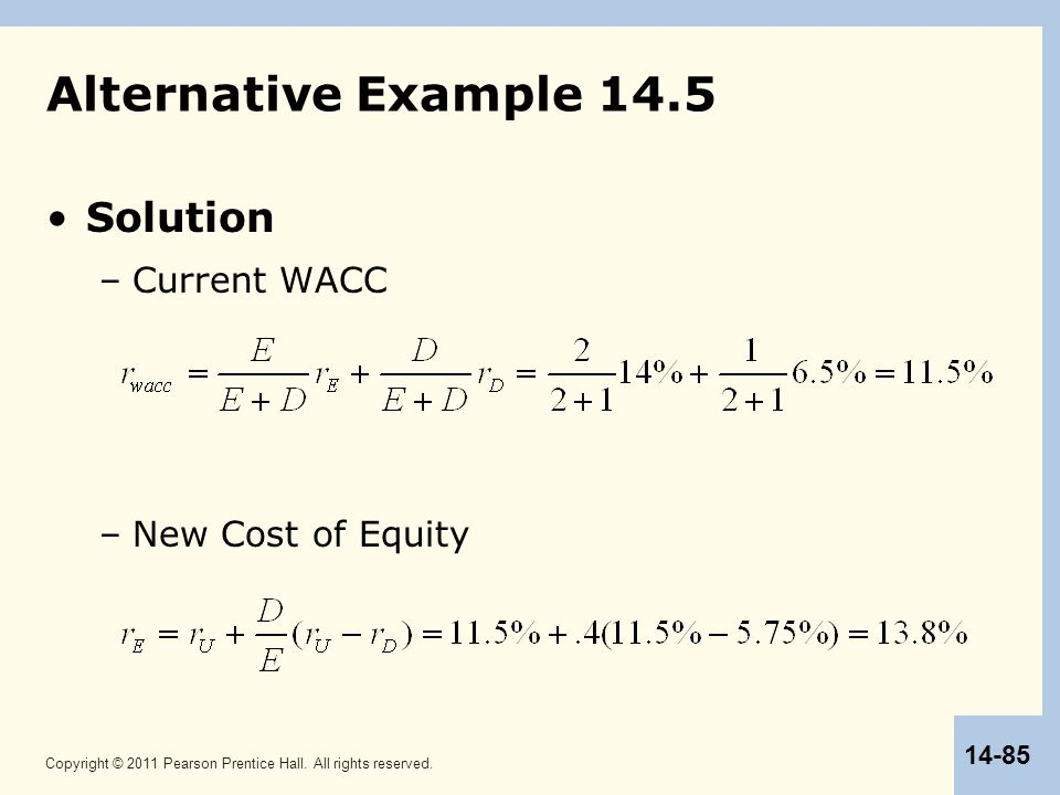Alternative Example 14.5 Solution Current WACC New Cost of Equity 85