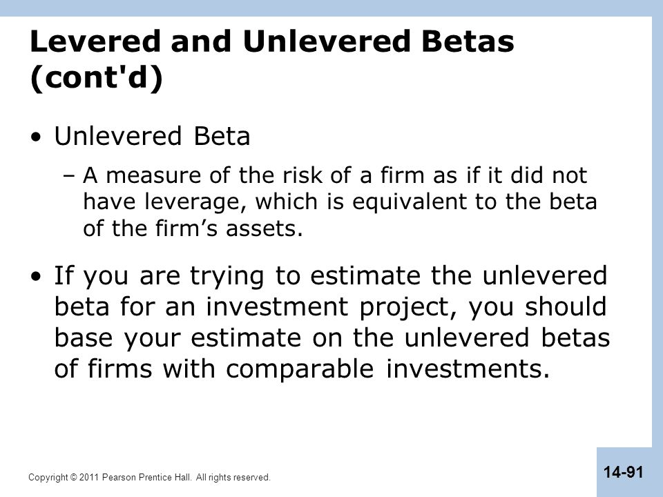 Levered and Unlevered Betas (cont d)
