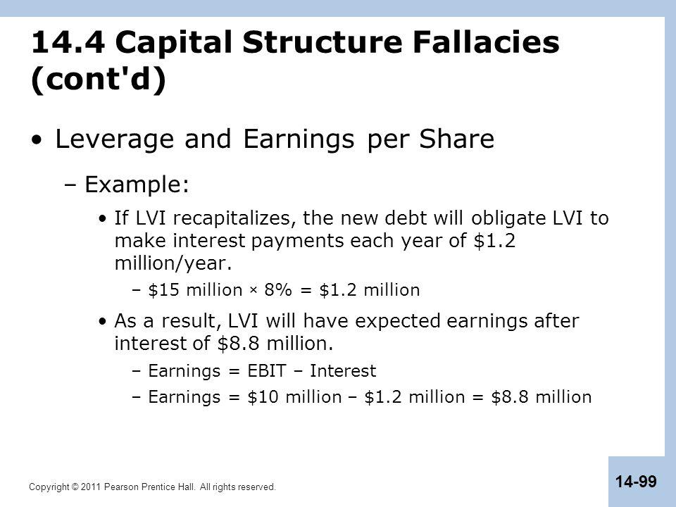 14.4 Capital Structure Fallacies (cont d)