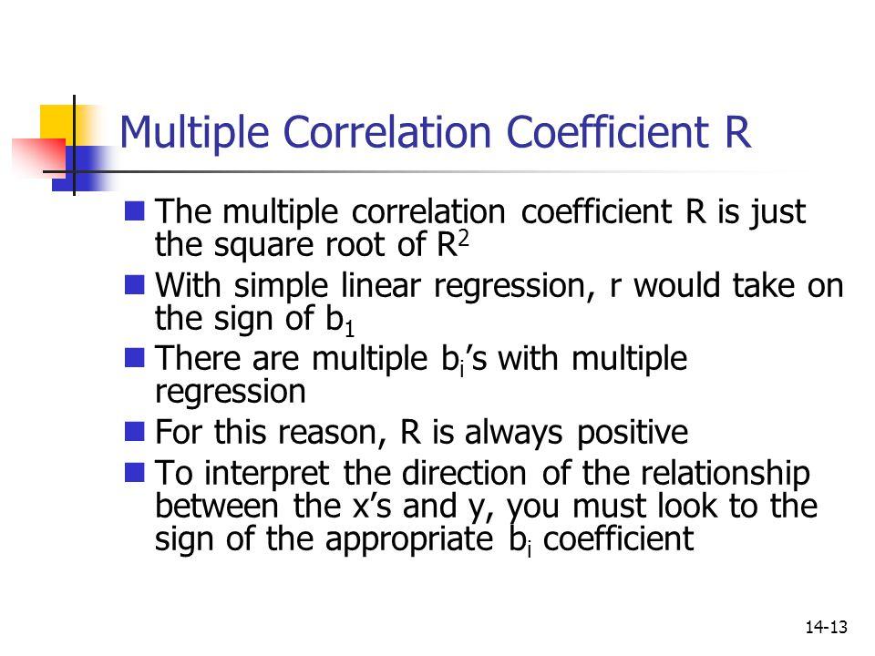 Multiple Correlation Coefficient R