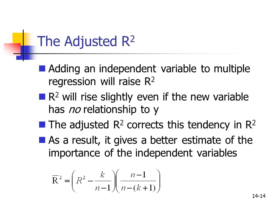 The Adjusted R2 Adding an independent variable to multiple regression will raise R2.