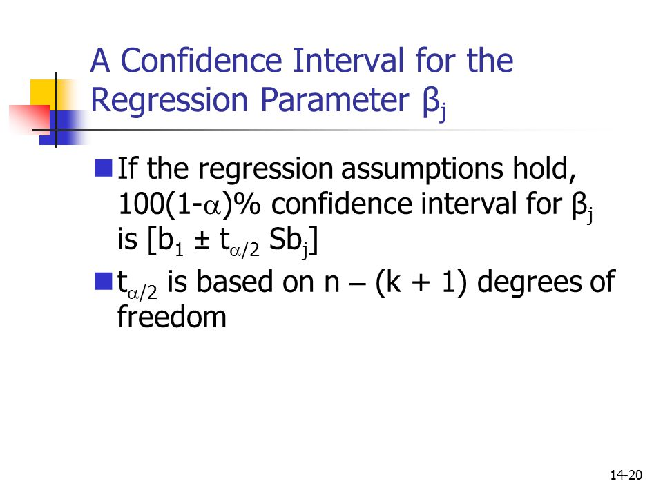 A Confidence Interval for the Regression Parameter βj