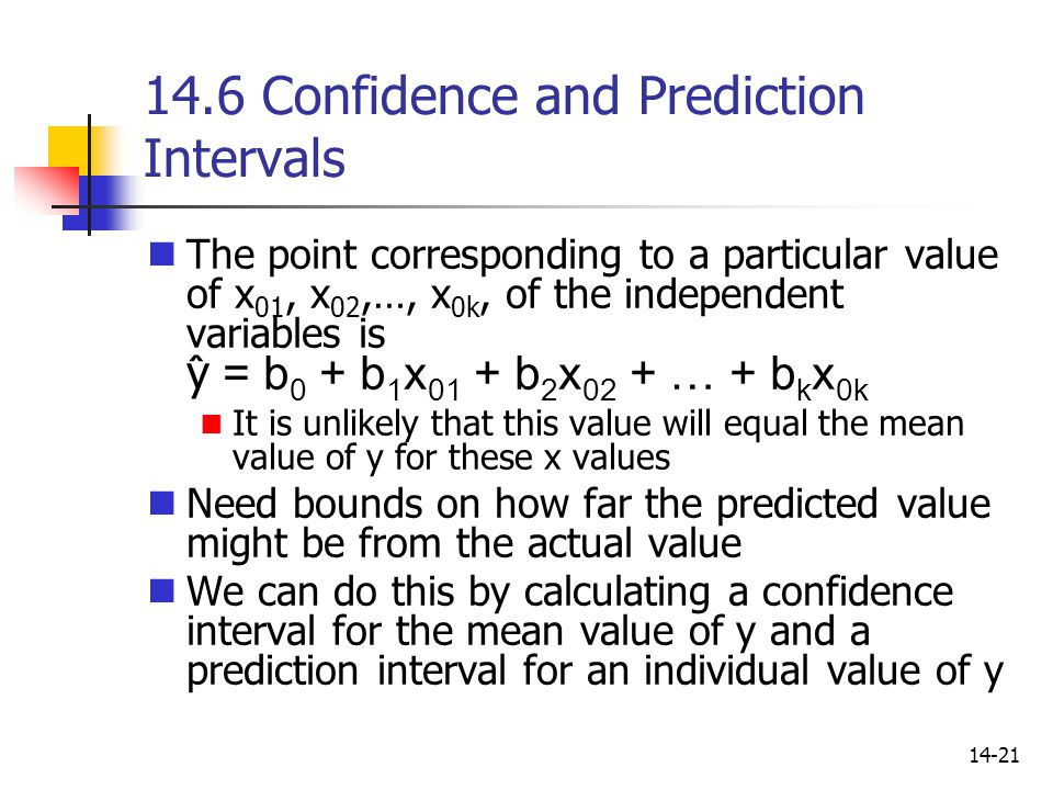 14.6 Confidence and Prediction Intervals