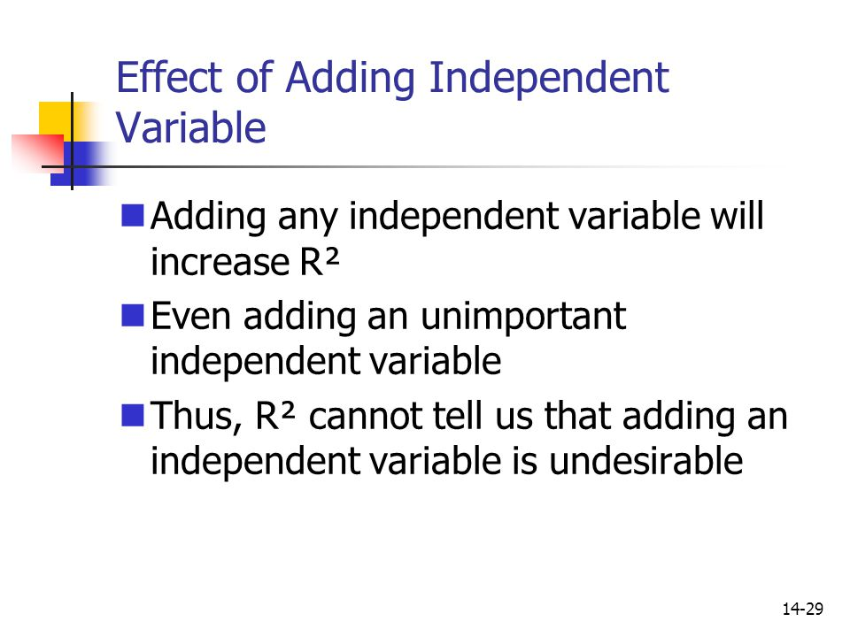 Effect of Adding Independent Variable