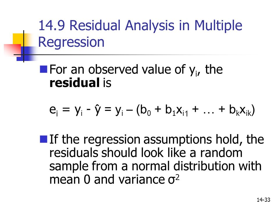 14.9 Residual Analysis in Multiple Regression