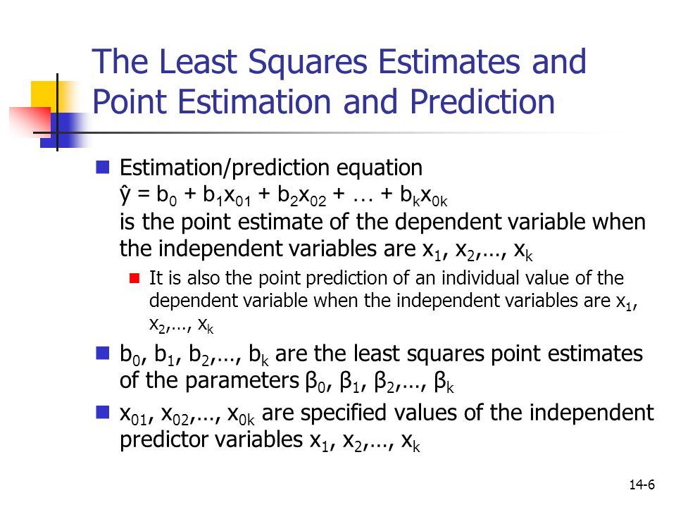 The Least Squares Estimates and Point Estimation and Prediction