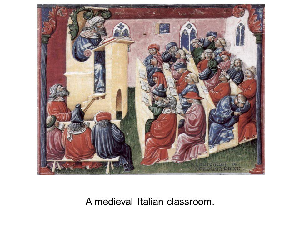 A medieval Italian classroom.