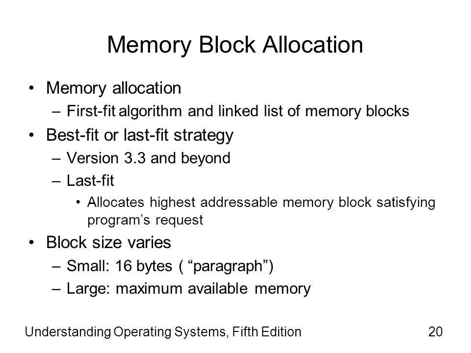 Memory Block Allocation