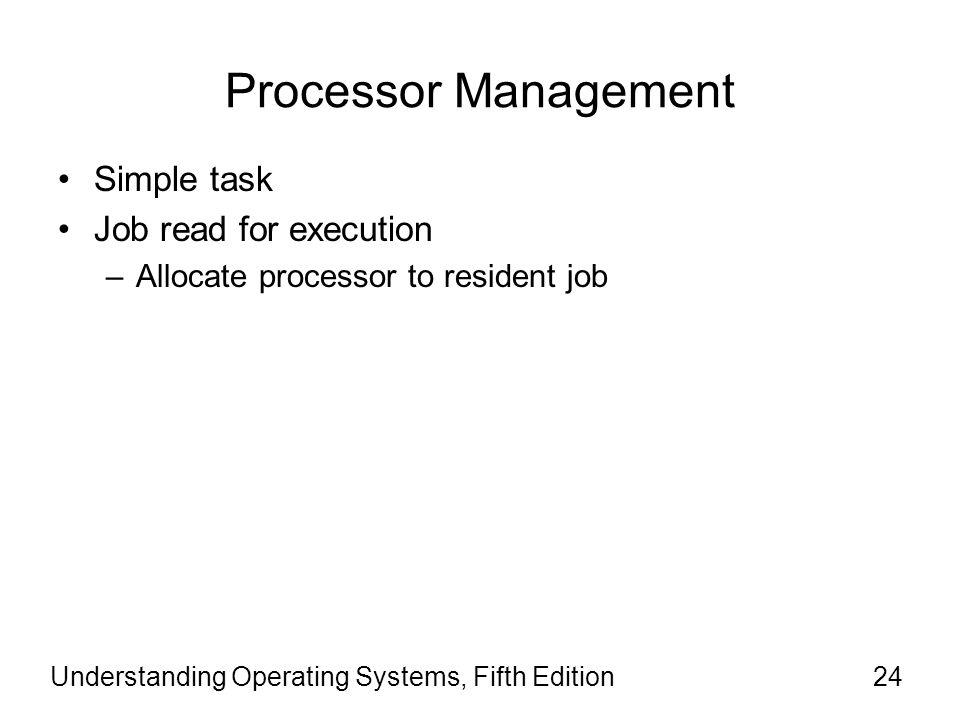 Processor Management Simple task Job read for execution
