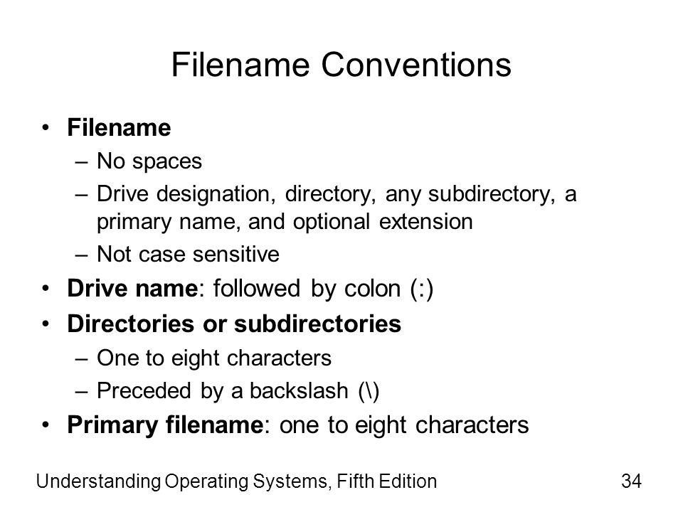 Filename Conventions Filename Drive name: followed by colon (:)