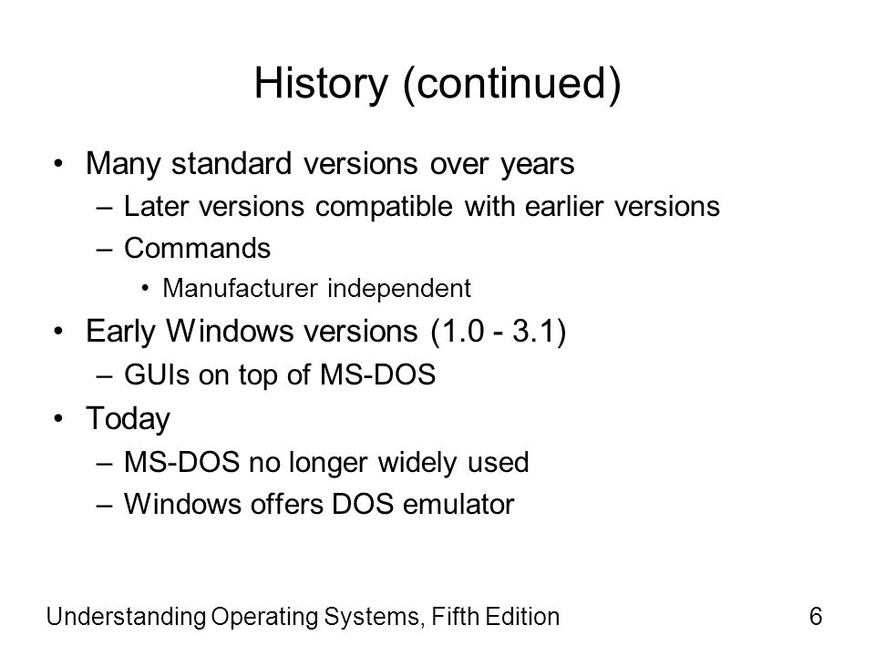 History (continued) Many standard versions over years