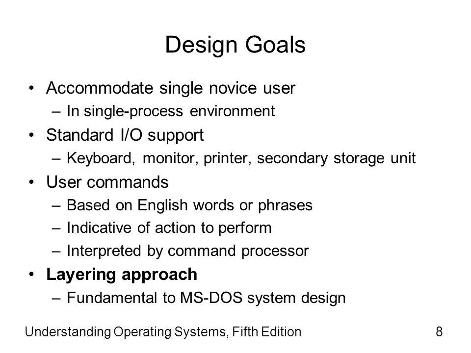 Design Goals Accommodate single novice user Standard I/O support