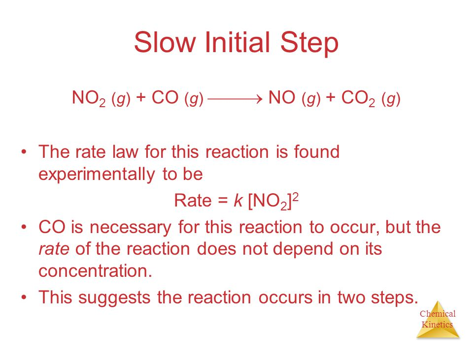 Slow Initial Step NO2 (g) + CO (g)  NO (g) + CO2 (g)