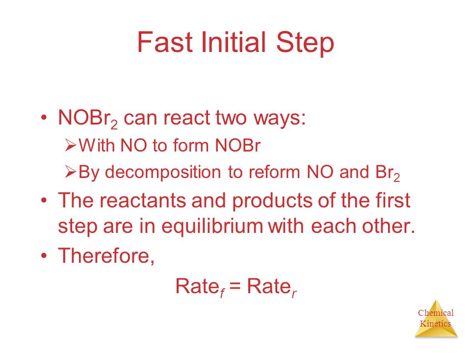Fast Initial Step NOBr2 can react two ways: