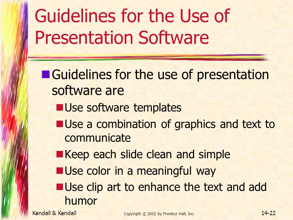 Guidelines for the Use of Presentation Software
