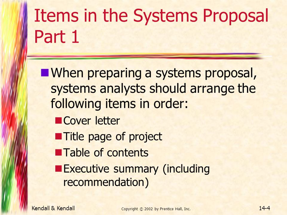 Items in the Systems Proposal Part 1