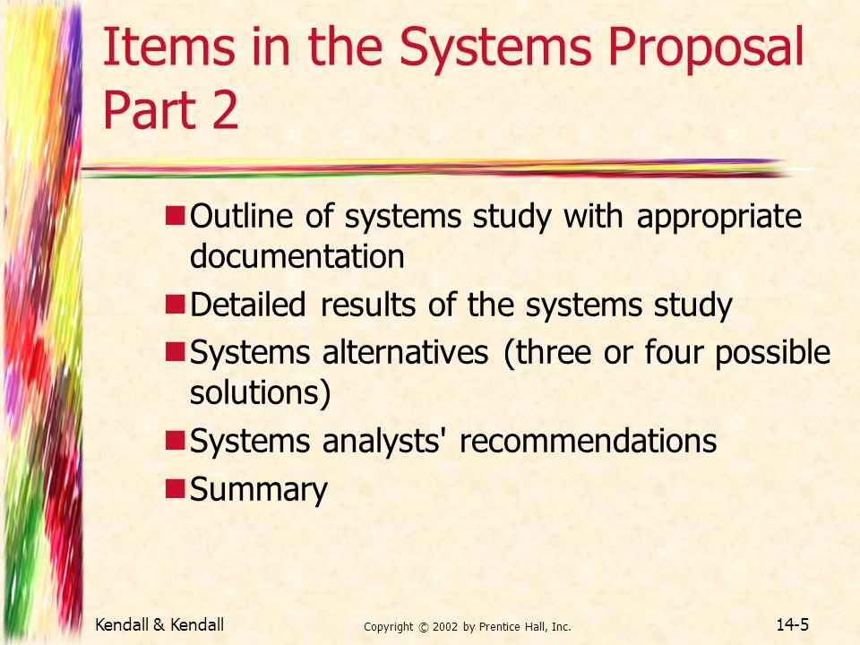 Items in the Systems Proposal Part 2