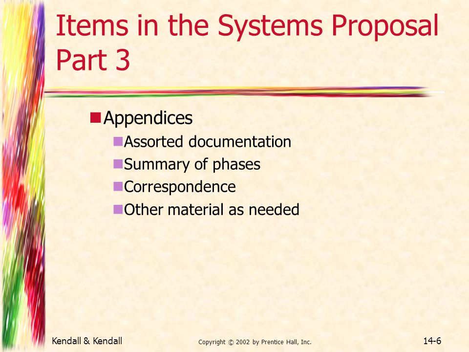 Items in the Systems Proposal Part 3